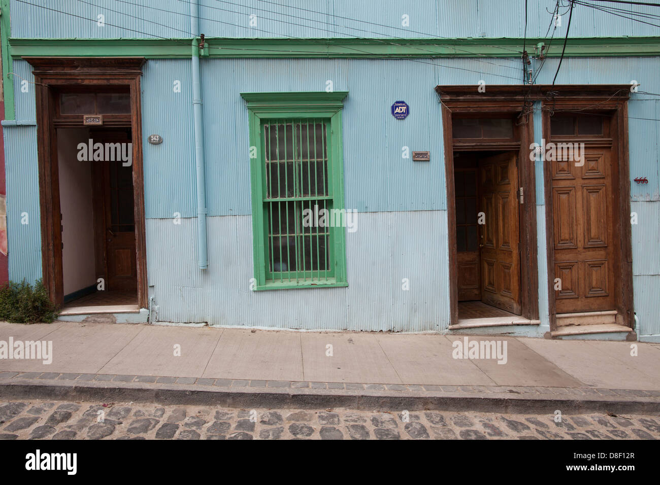 Blue House in Valparaiso Cerro Alegre - Stock Image