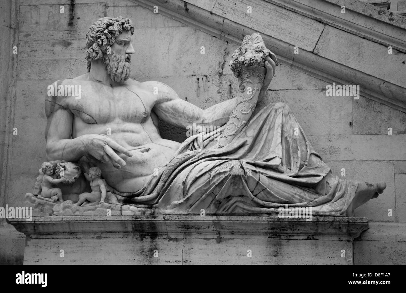 White stone sculpture of man in Rome - Stock Image