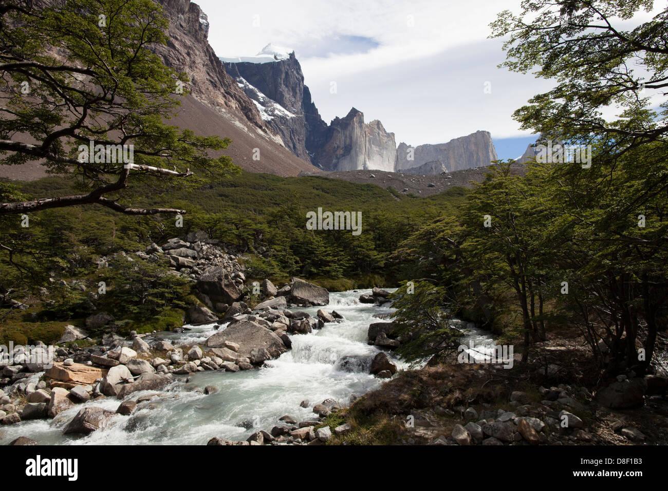 River flows through valle del Frances Landscape in Torres de Paine Stock Photo