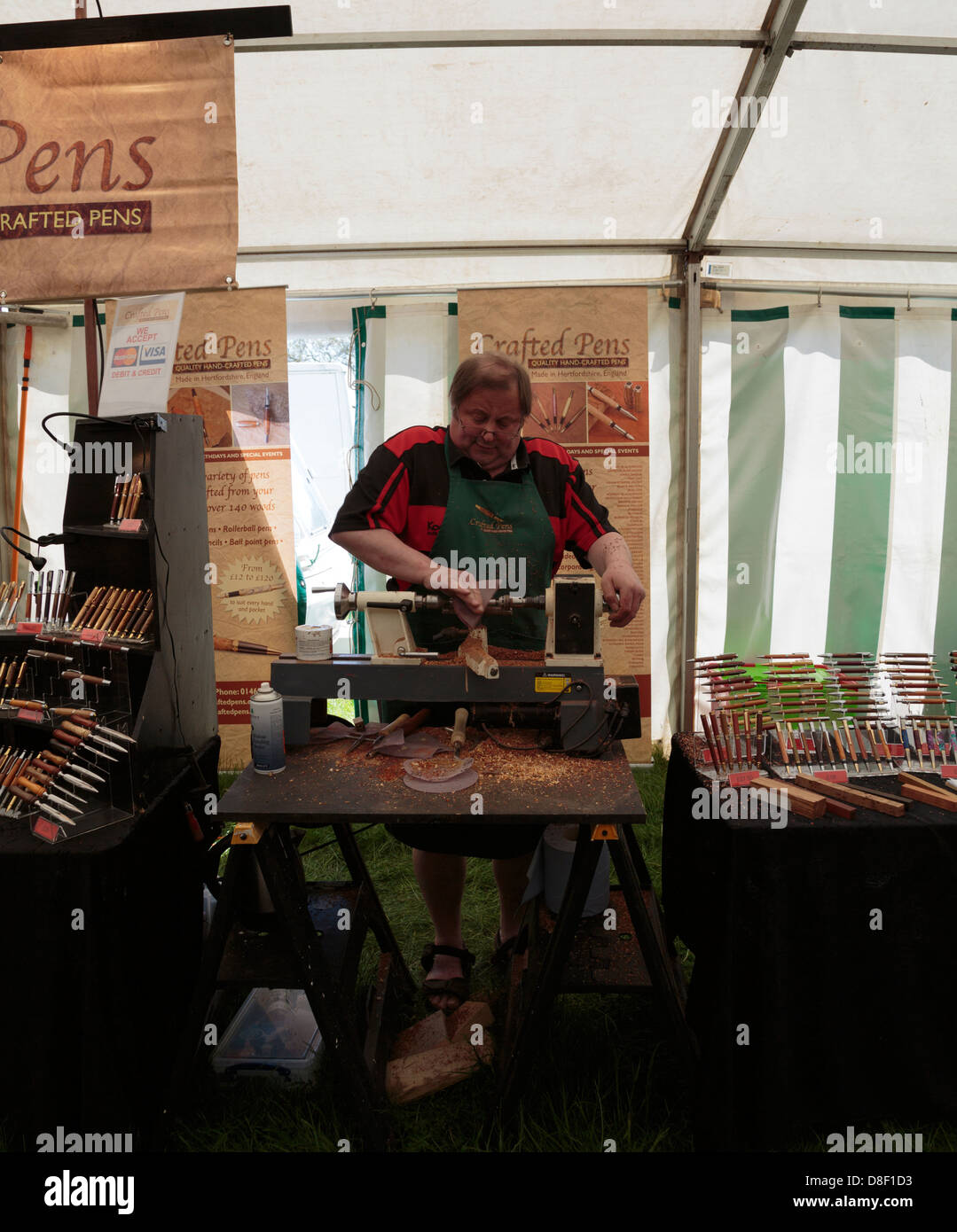 A man hand crafting pens at Game and Country Fair 26th May 2013, Burghley House, Stamford, Lincolnshire, England - Stock Image