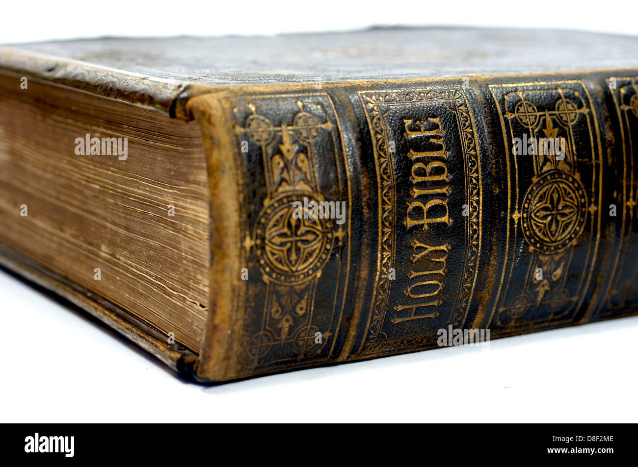Vintage Leather Look Jeremiah Verse Bible Book Cover Large: Spine Of An Old Ancient Holy Bible Stock Photo: 56879774