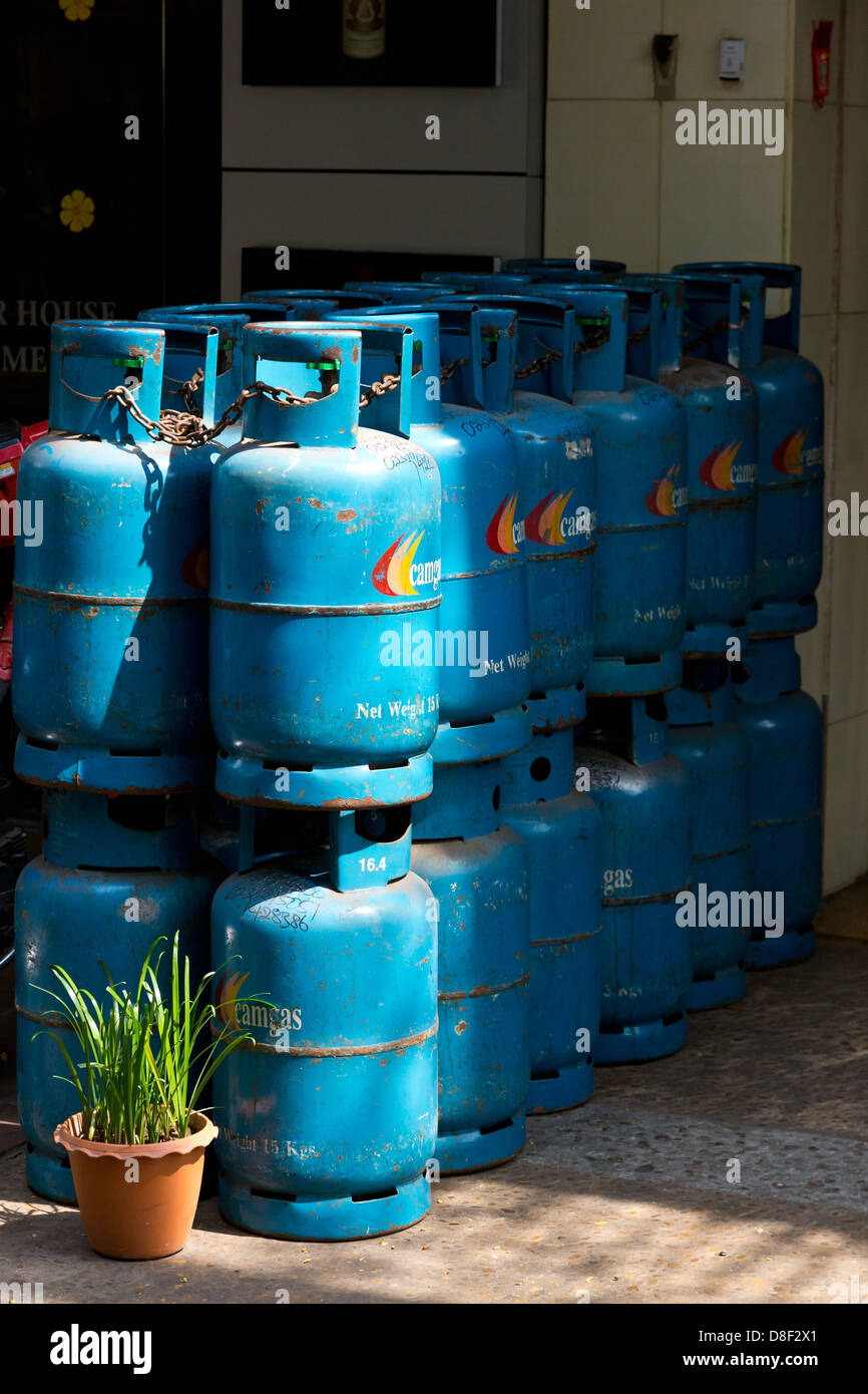 Gas Containers in Phnom Penh, Cambodia Stock Photo: 56879929
