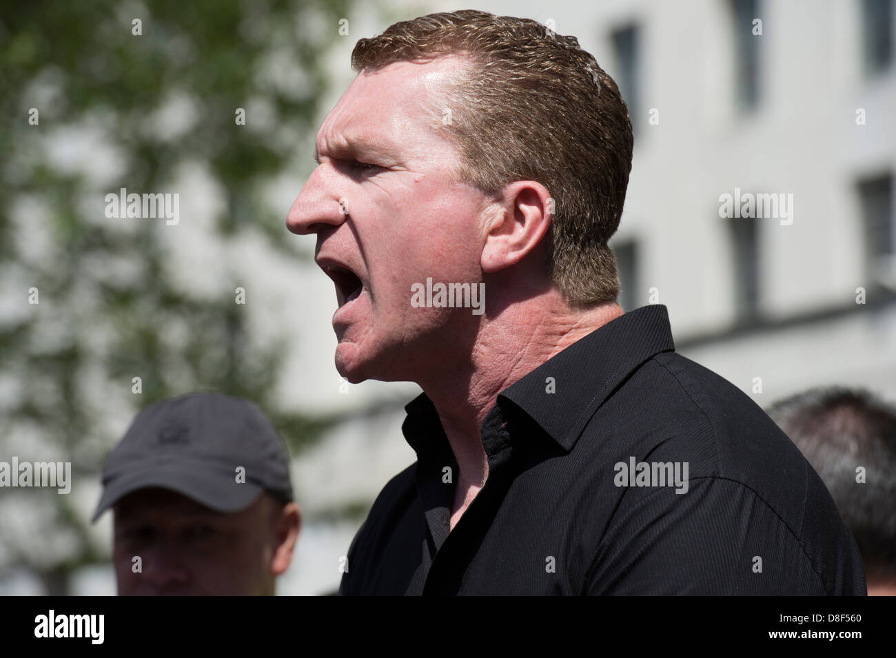 English Defence League EDL rally in front of Downing Street on May 27th 2013. EDL leader Kevin Carroll pictured - Stock Image