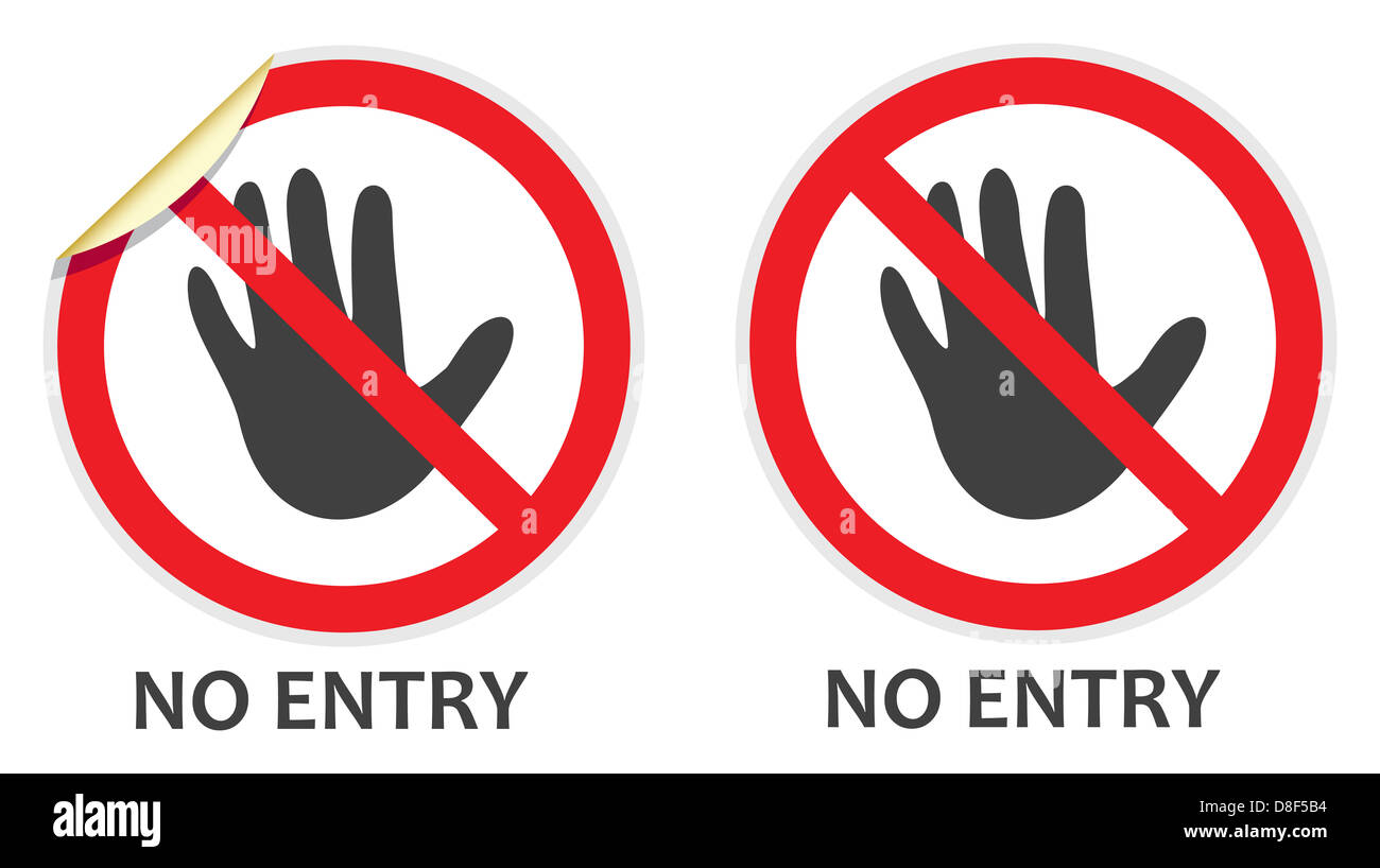 No entry signs in two vector styles depicting banned activities - Stock Image