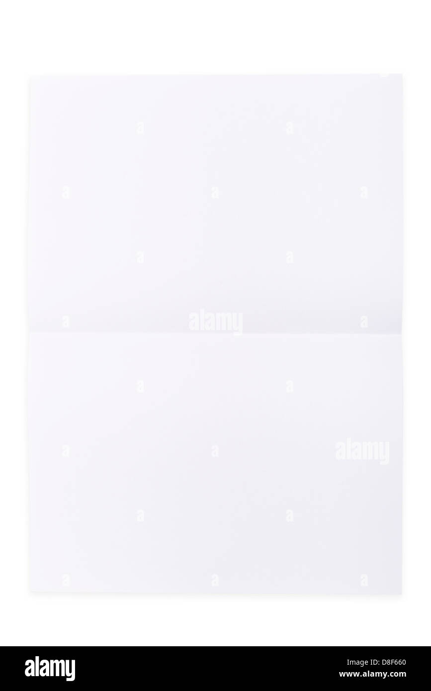 White paper sheet folded in half isolated over a white background - Stock Image