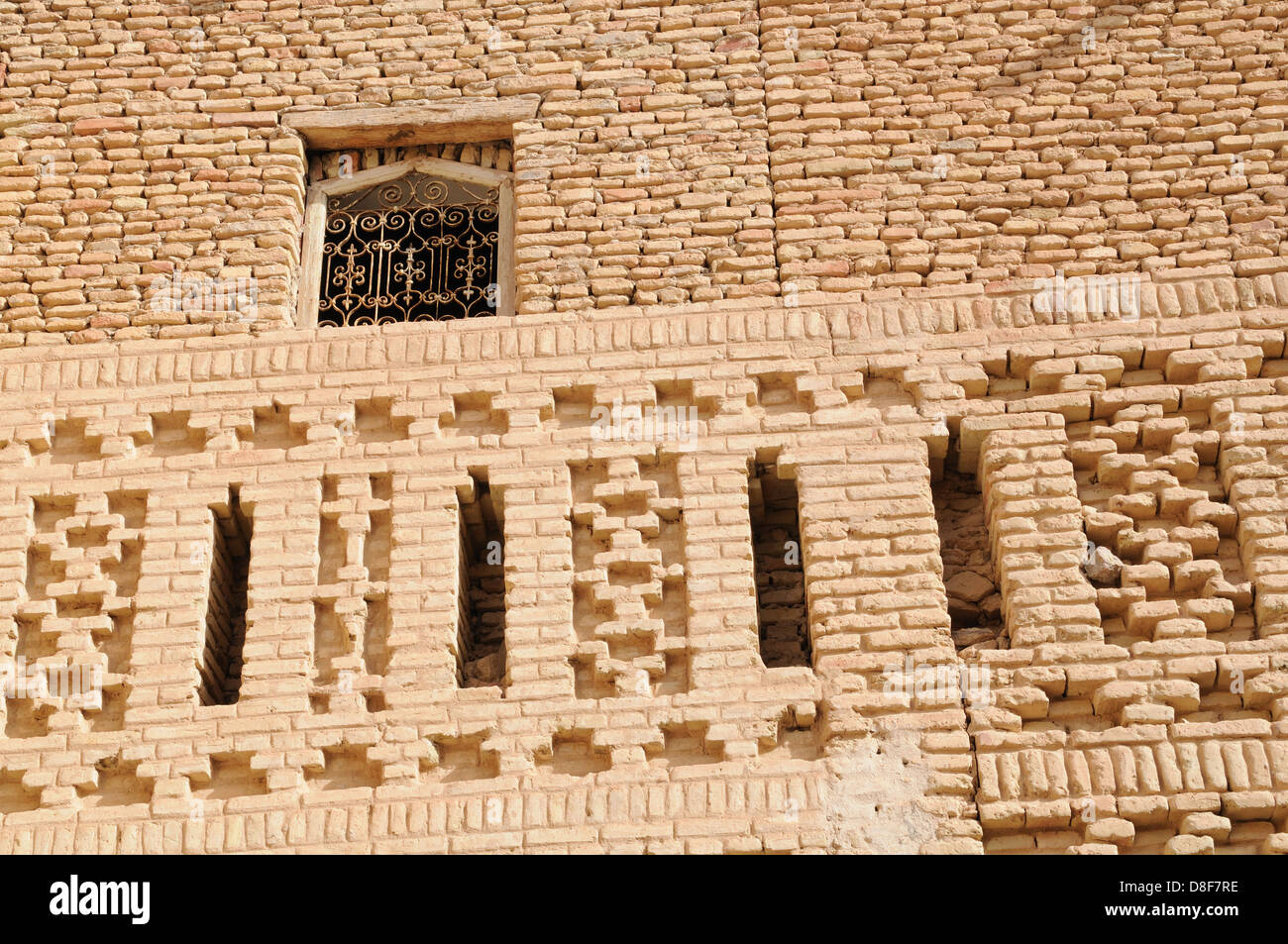 A decorative wall made from air dried bricks in the old Medina Stock ...