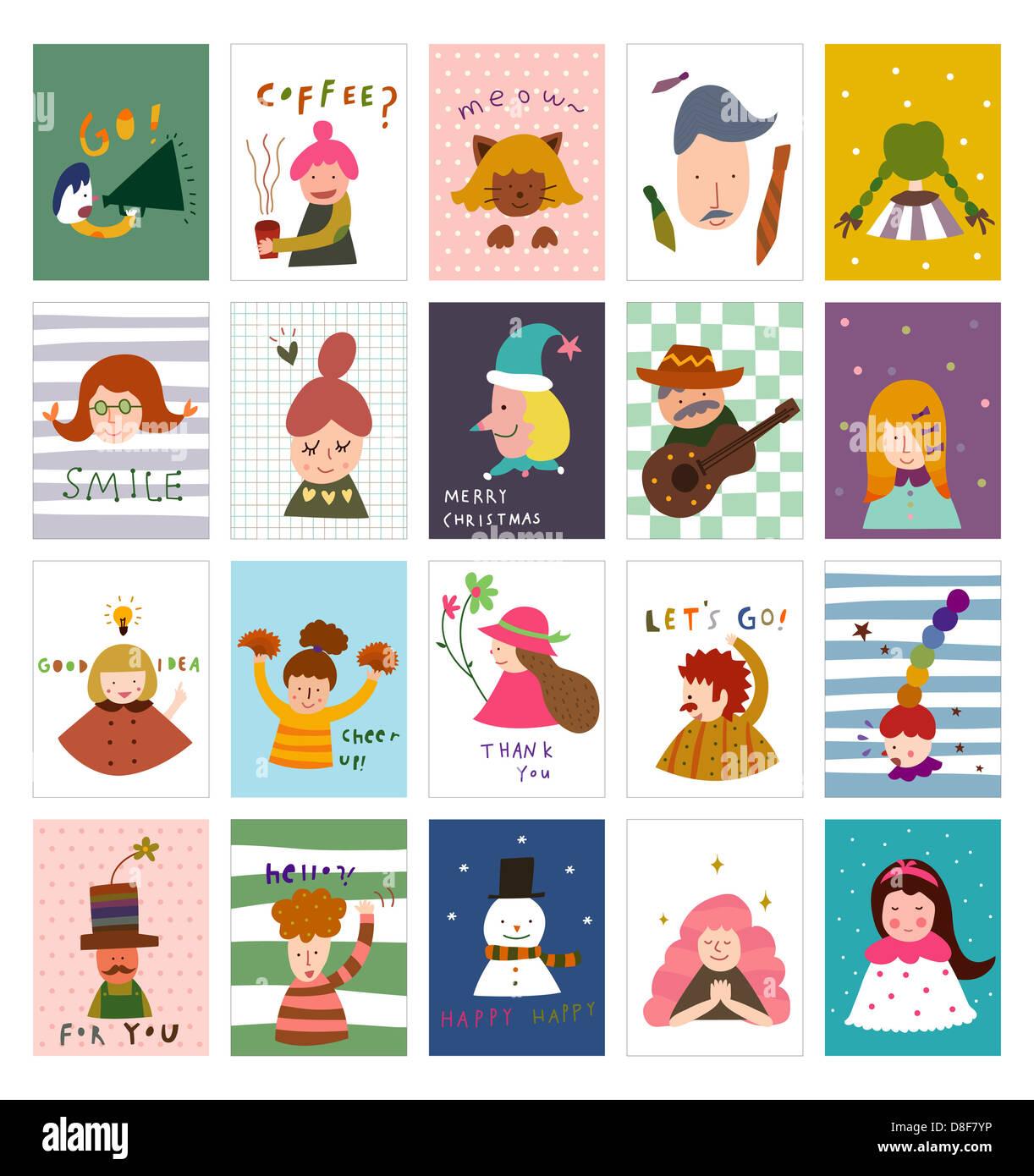Various postcards - Stock Image