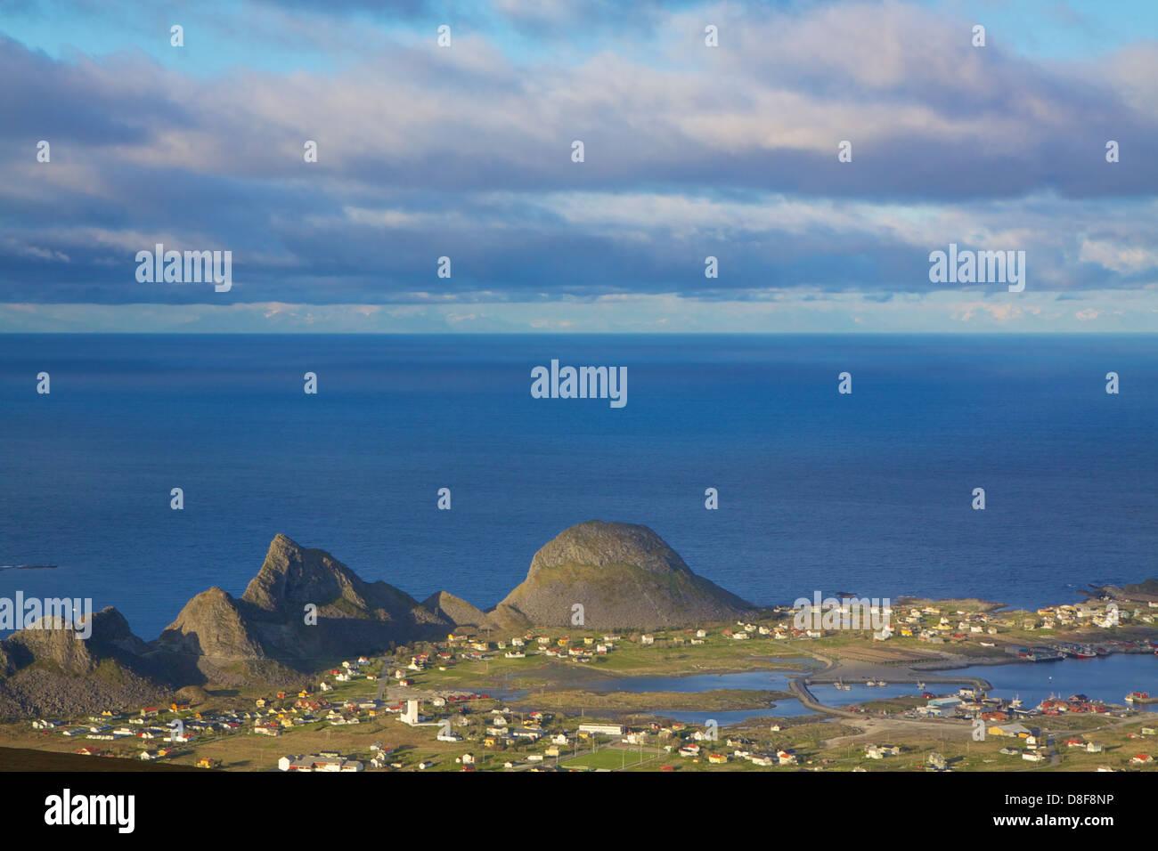 Picturesque norwegian town Sorland on island of Vaeroy, Lofoten islands, Norway - Stock Image