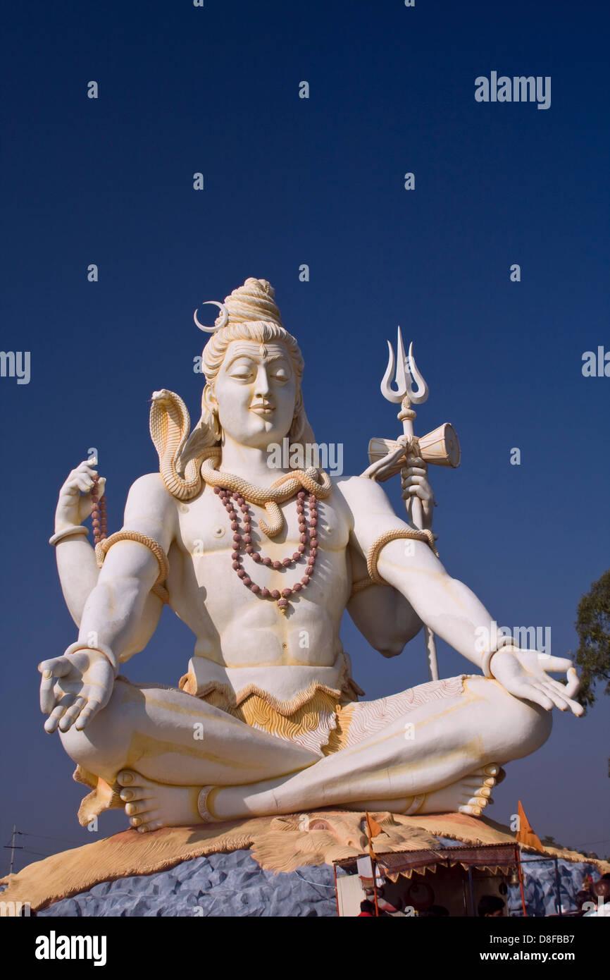 Asia, India, Karnataka, Bijapur, Shiva Shivagiri, Lord Shiva Statue Stock Photo