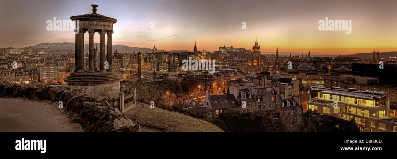 Carlton Hill Panorama at Dusk sunset in Edinburgh Scotland UK @hotpixuk - Stock Image