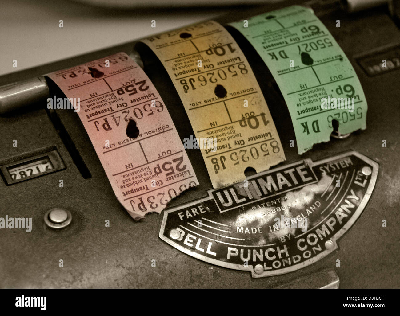 Bell Punch Bus Ticket machine & Tickets from Coventry, England UK - Stock Image