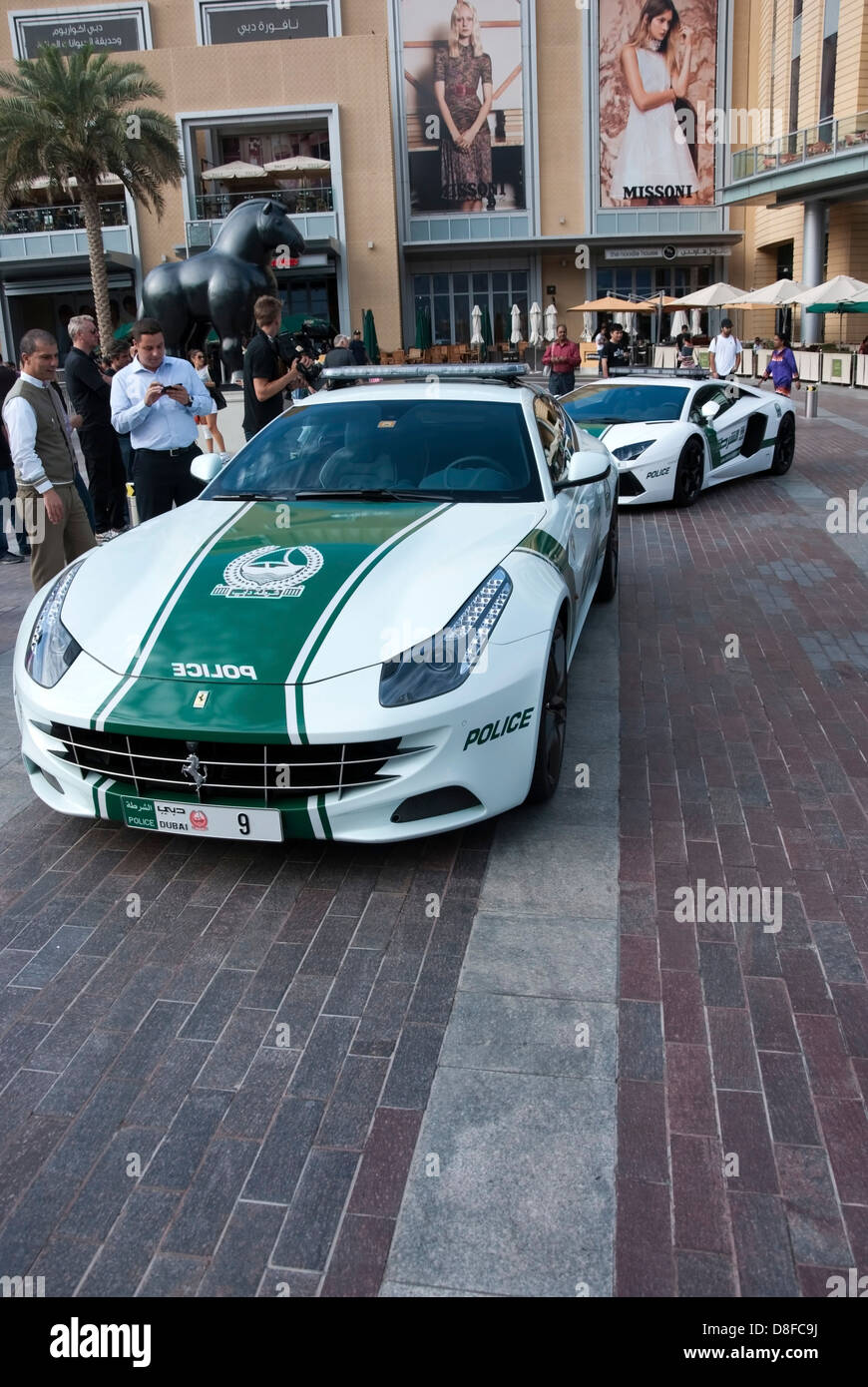 Dubai Police Ferrari FF Lamborghini Patrol Cars Stock Photo
