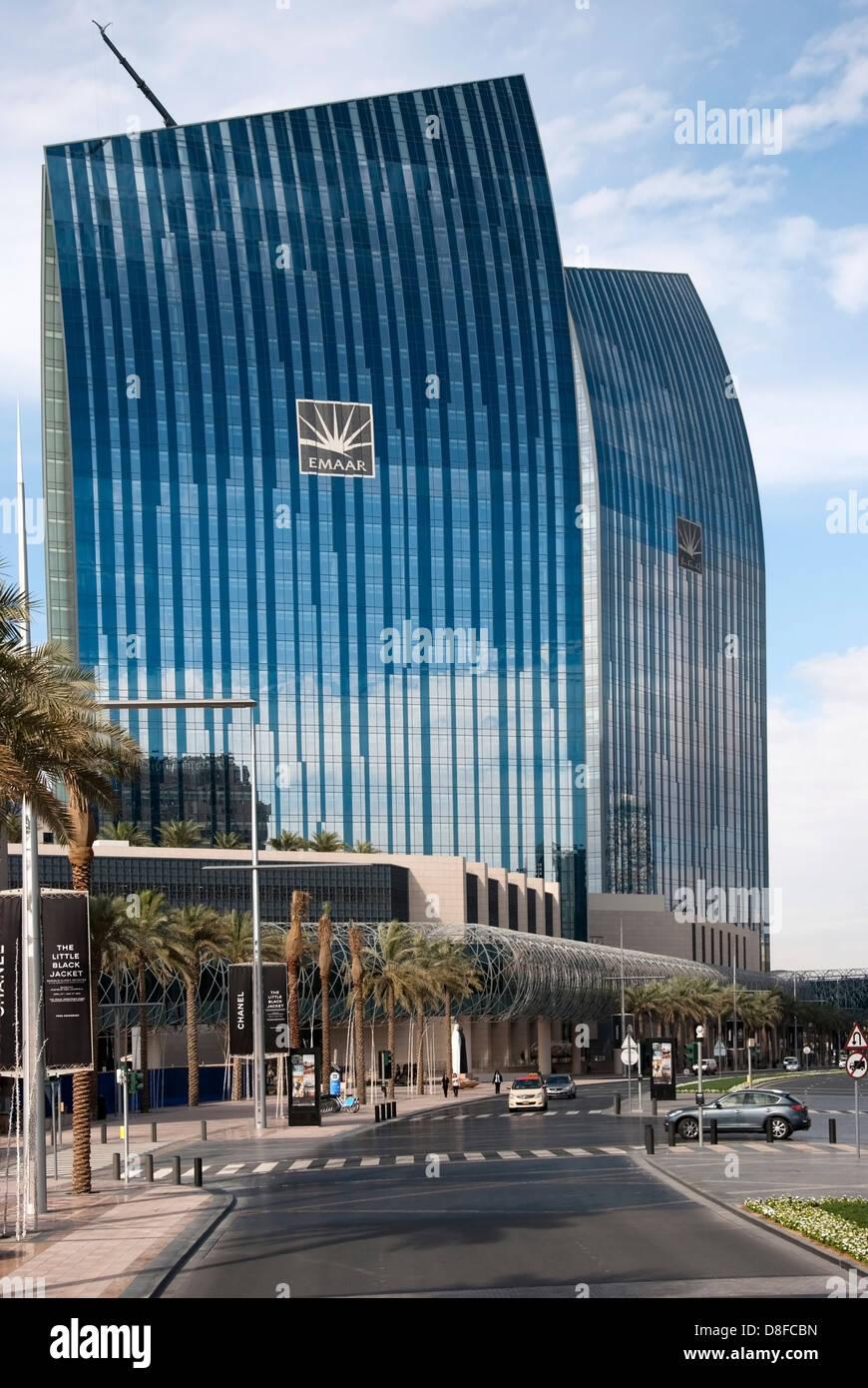 Vibrant Shimmering Blue Emaar Skyscrapers Mohammed Bin Rashid Boulevard Downtown Dubai - Stock Image