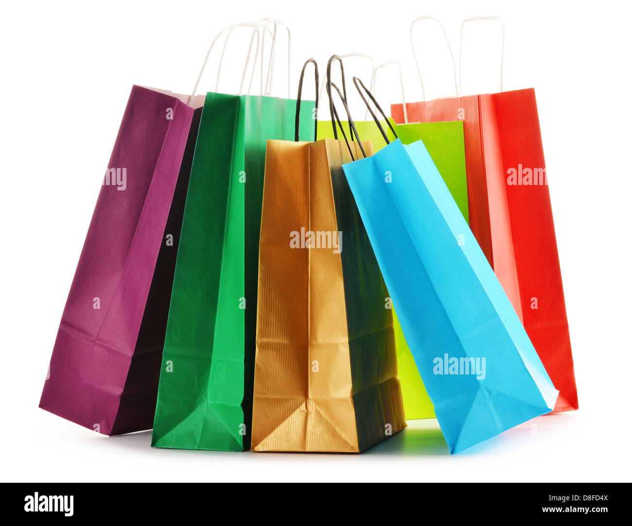 5e1728435d Paper shopping bags isolated on white background - Stock Image