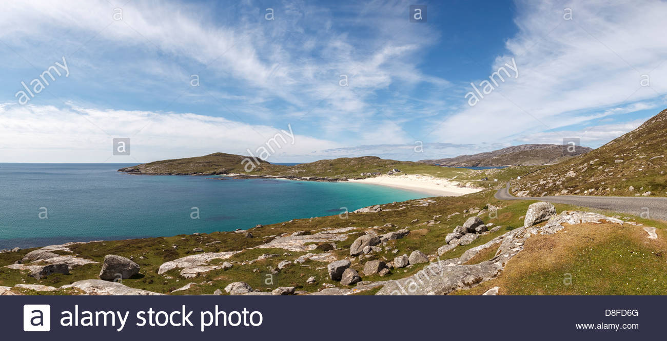 The Huisinish Road with Huisinish and its beautiful sandy beach in the background, Isle of Harris, Outer Hebrides, - Stock Image