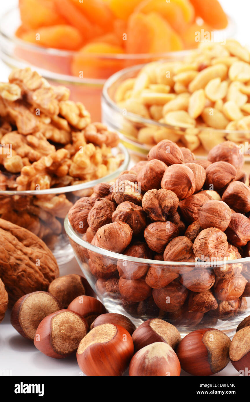 Composition with nuts and apricots - Stock Image