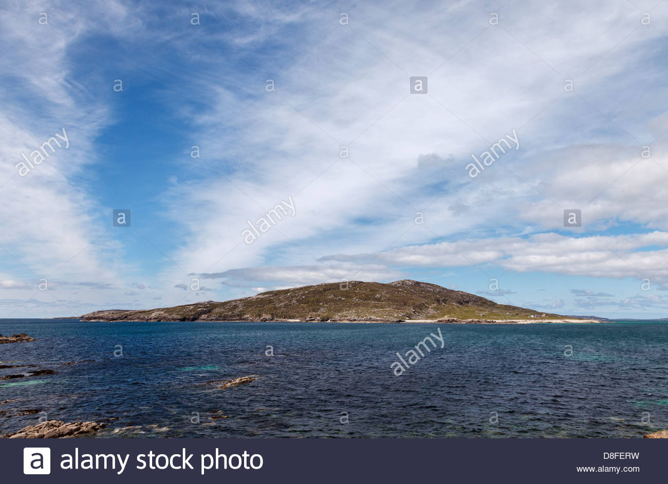 Isle of Scarp seen from Huisinish, Outer Hebrides, Scotland - Stock Image