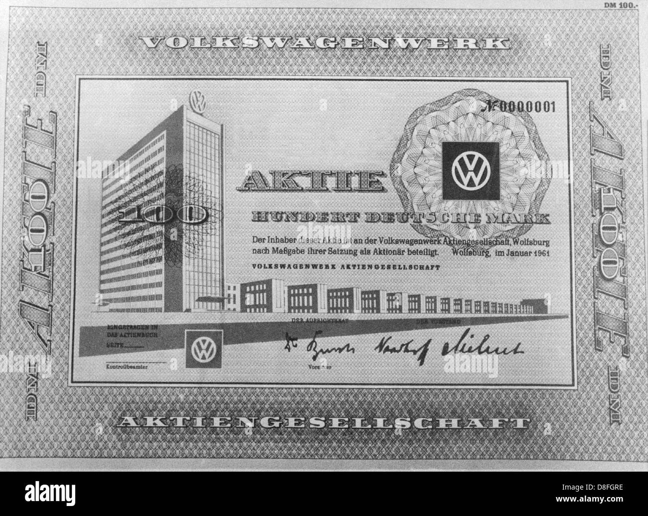 Picture of a VW people's stock worth one hundred mark from 1961. Stock Photo