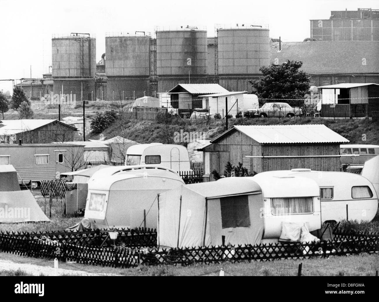 Caravans in front of camping ground between Neuss and Cologne, photographed on the 11th of June in 1968. In the - Stock Image