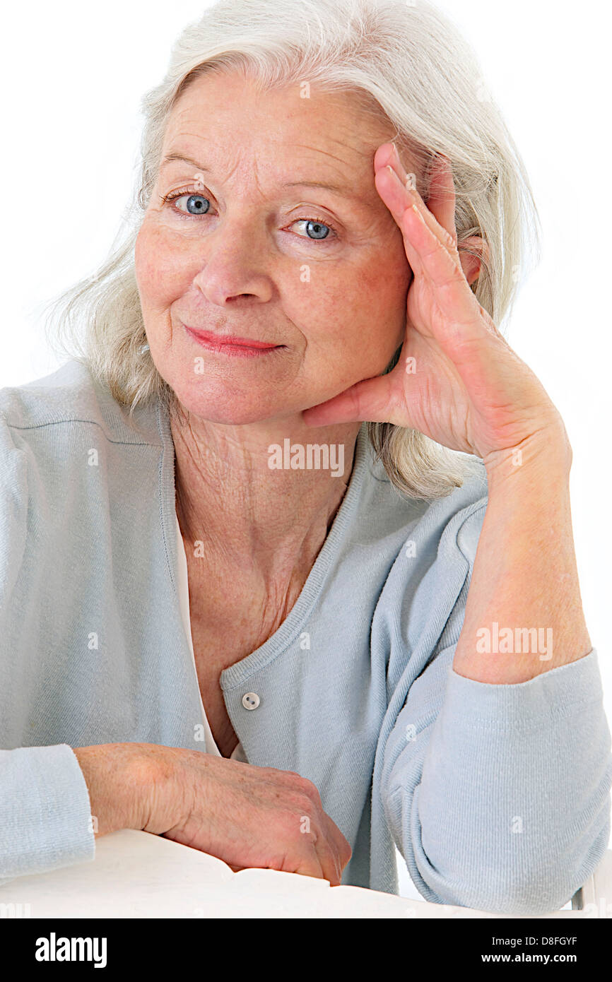 PORTRAIT OF +65 YR-OLD WOMAN - Stock Image