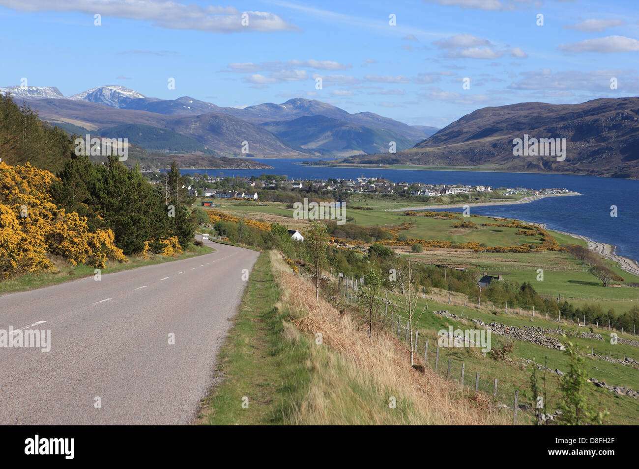 Ullapool nestling on the shores of Loch Broom in Highland Scotland - Stock Image