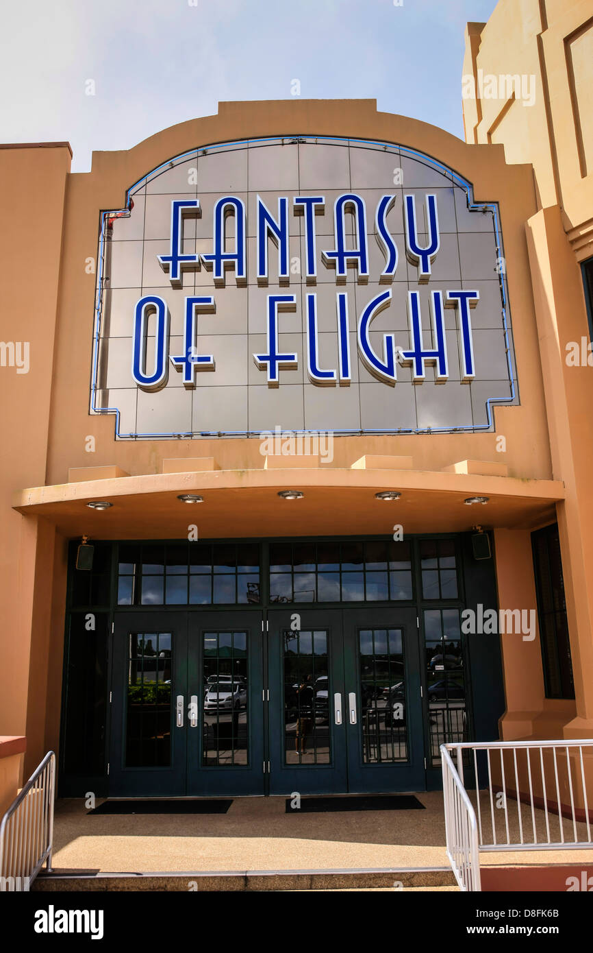 The entrance to the Fantasy of Flight Museum at Polk City Florida - Stock Image