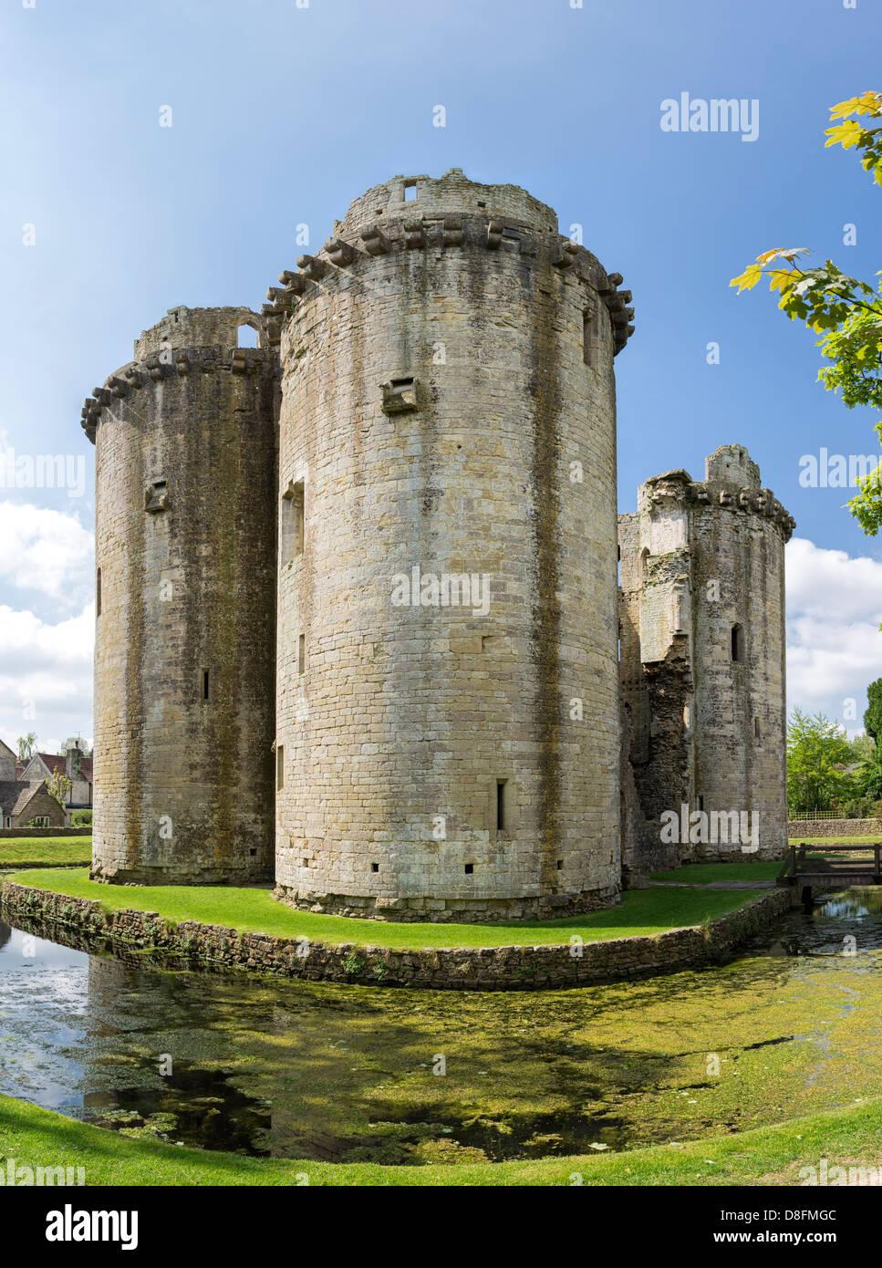 Ruined medieval Nunney castle, Somerset, England, UK Stock Photo