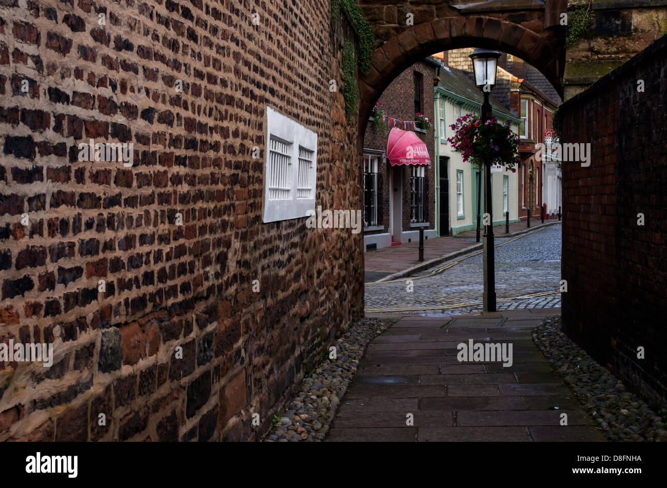 A street view in the old part of town in Carlisle, UK. - Stock Image