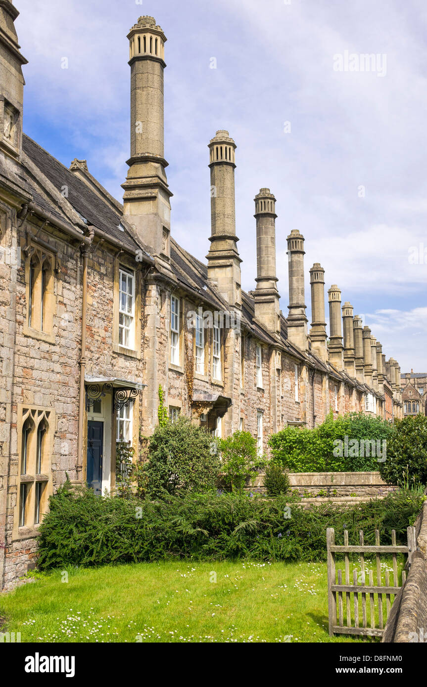 Medieval houses in Vicars Close, Wells, Somerset, UK - Stock Image