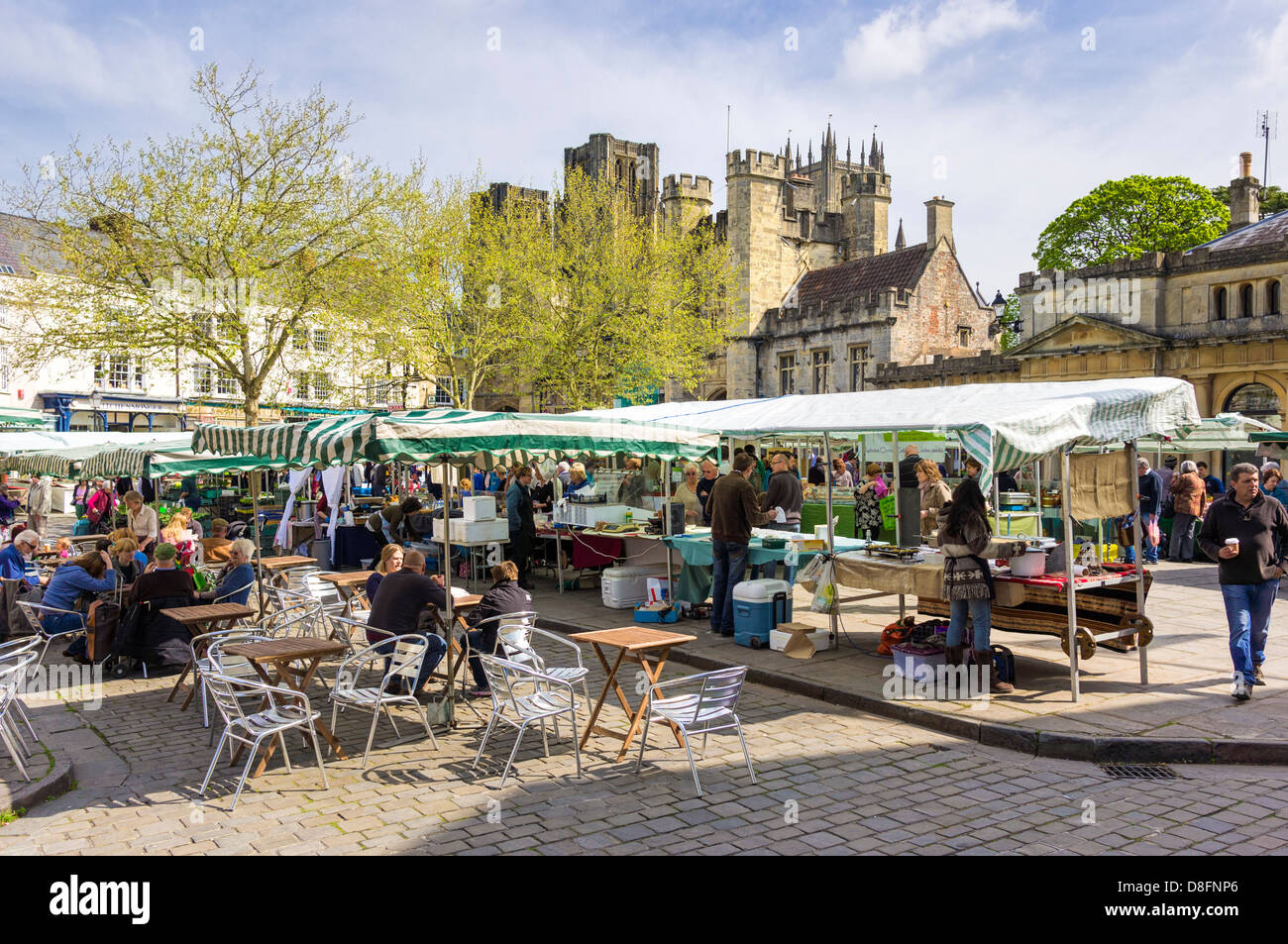Cafe and Farmers market in Wells, Somerset, England, UK - Stock Image