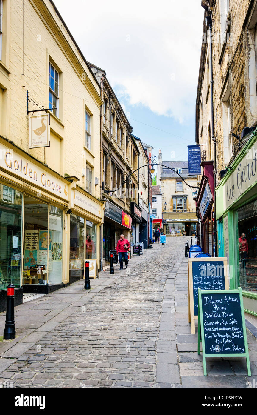 Old shopping street in Frome, Somerset, England, UK - Stock Image