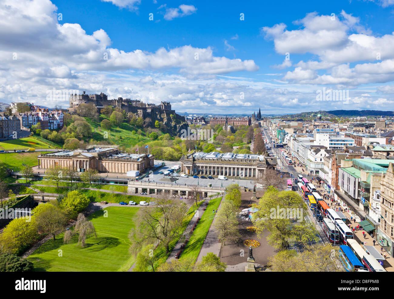 Edinburgh city skyline with the casle and Princes street Edinburgh city centre Edinburgh Midlothian Scotland UK - Stock Image