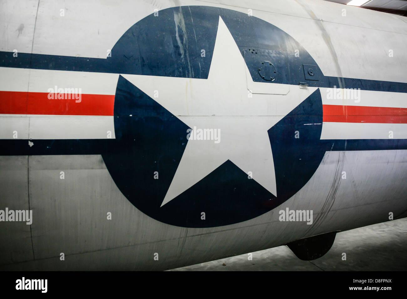 A semi-restored B29 in the Storage Hangar at the Fantasy of Flight Museum FL - Stock Image