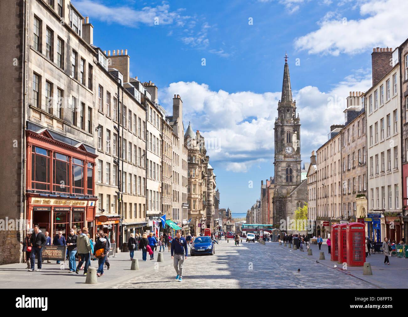 The High Street in  Edinburgh old town or the royal Mile Midlothian Scotland UK GB EU Europe - Stock Image