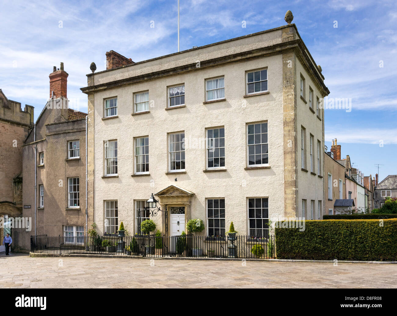 Georgian townhouse / house UK in Wells, Somerset, England - Stock Image