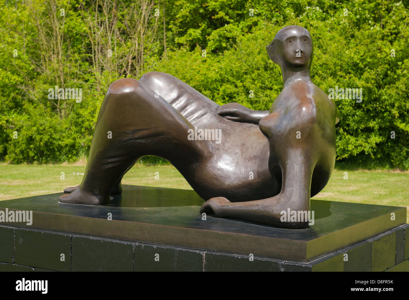 Henry Moore Foundation Perry Green Auguste Rodin exhibition modern contemporary sculpture statue bronze Reclining - Stock Image