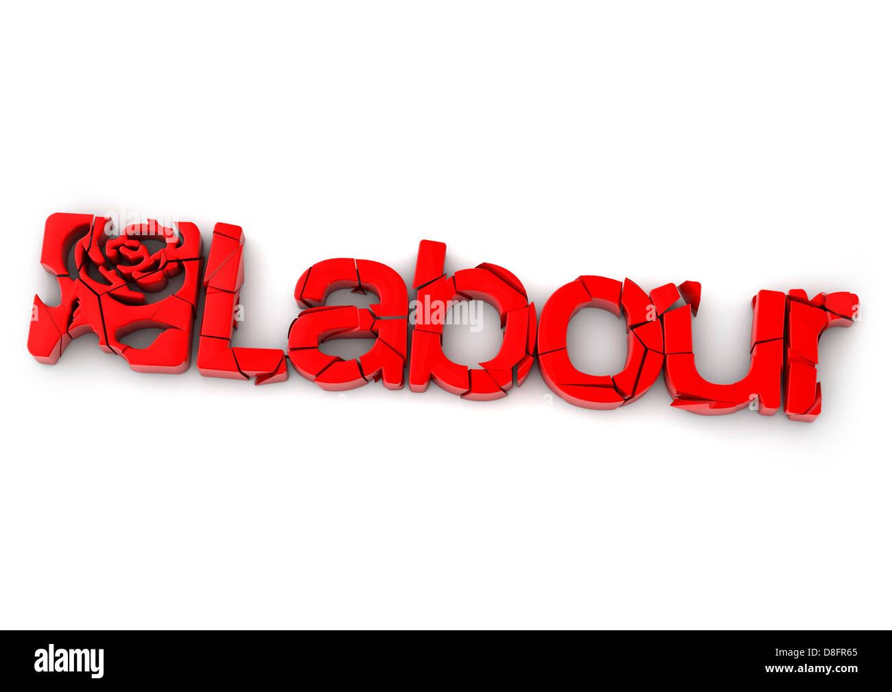 Crumbling Labour Party logo - Stock Image