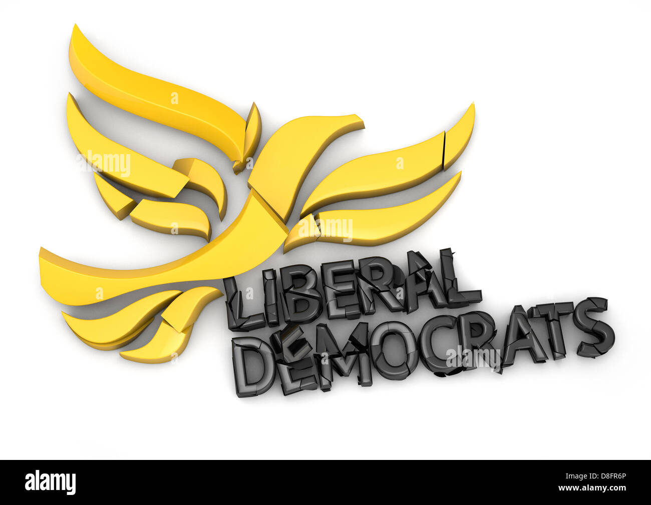 Crumbling Liberal Democrats logo falling apart - Stock Image