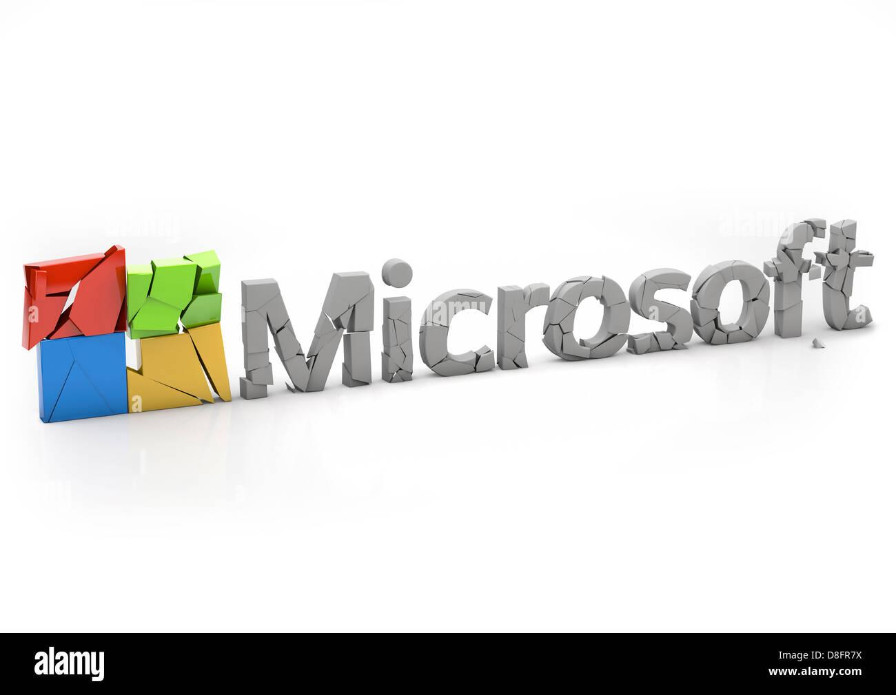 Crumbling Microsoft Logo breaking apart - Stock Image