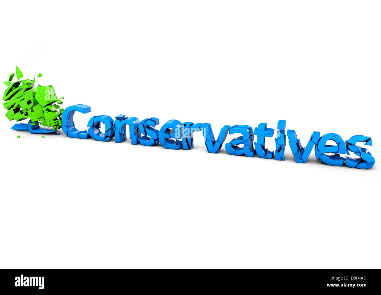 Crumbling Conservative Party logo - Stock Image