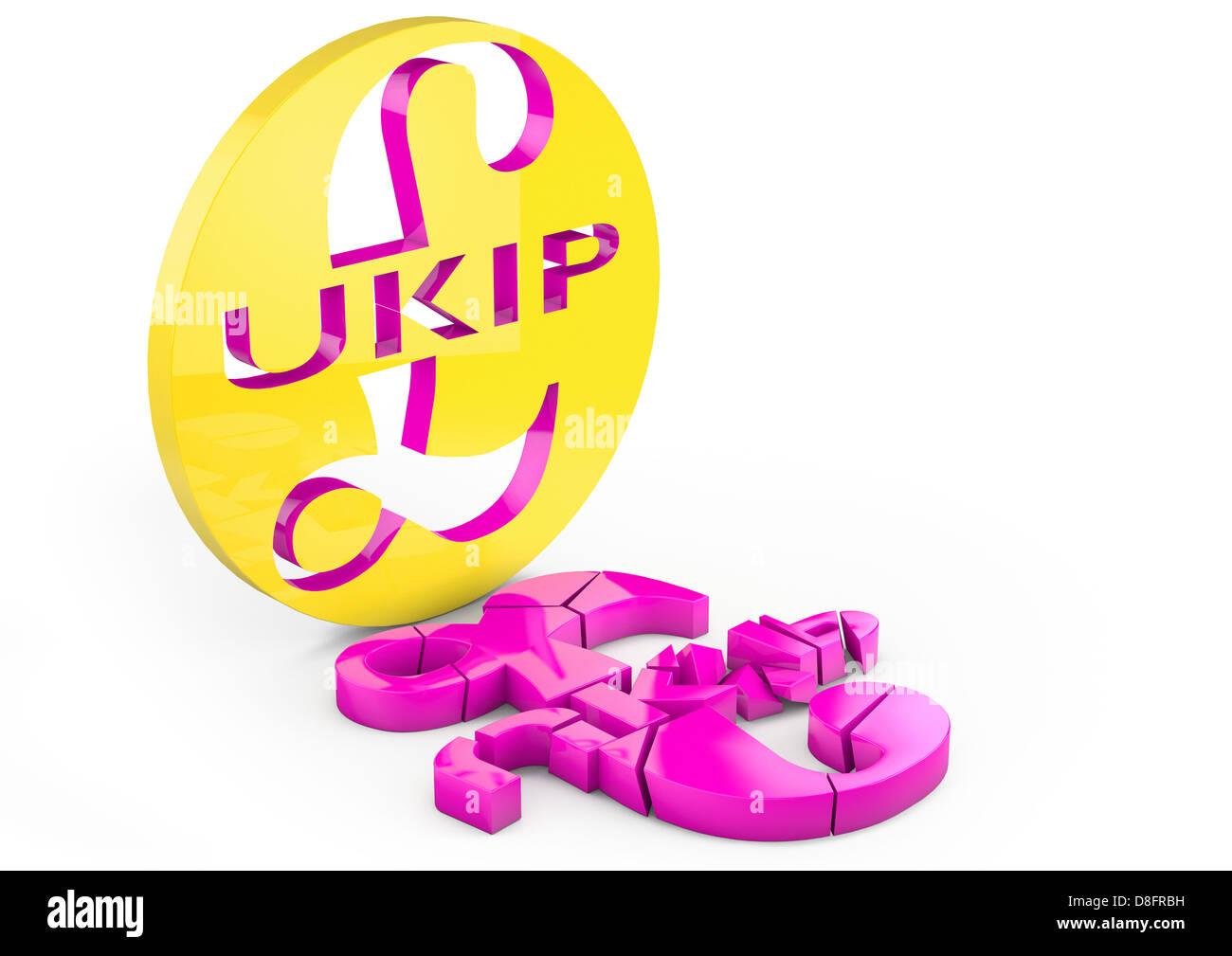 Crumbling / broken UKIP logo falling apart - Stock Image