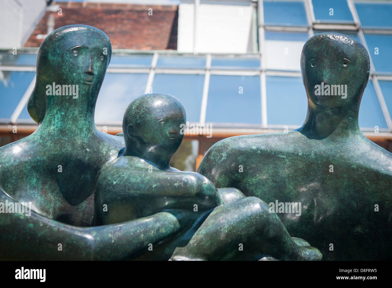 Henry Moore Foundation Perry Green Auguste Rodin exhibition modern contemporary sculpture statue bronze Family Group - Stock Image