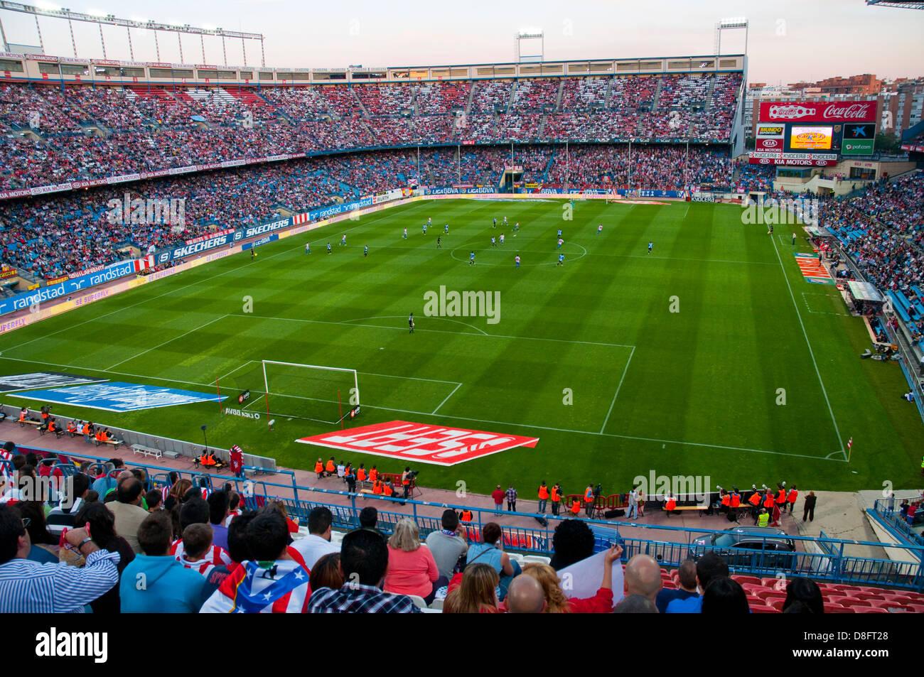 Football match in Vicente Calderon stadium. Madrid. - Stock Image