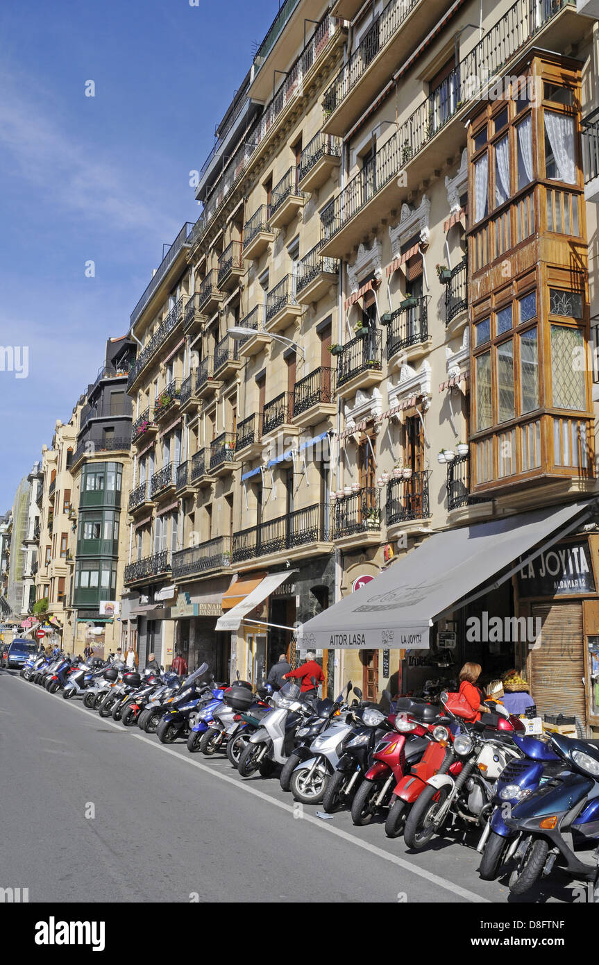 parked motorcycles - Stock Image