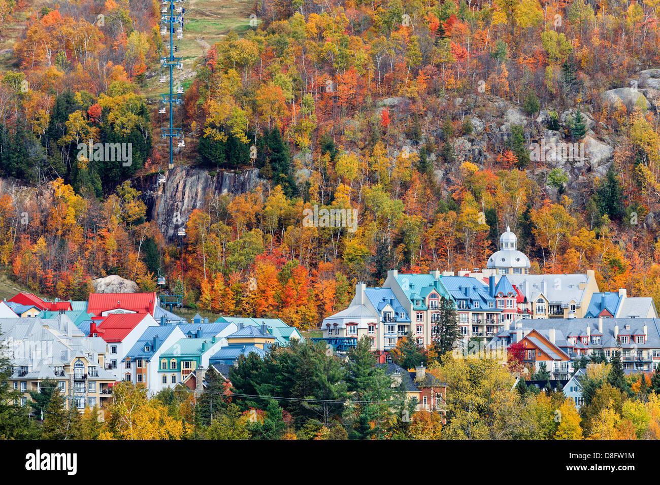 Mont Tremblant Village in autumn, Laurentians, Quebec, Canada - Stock Image
