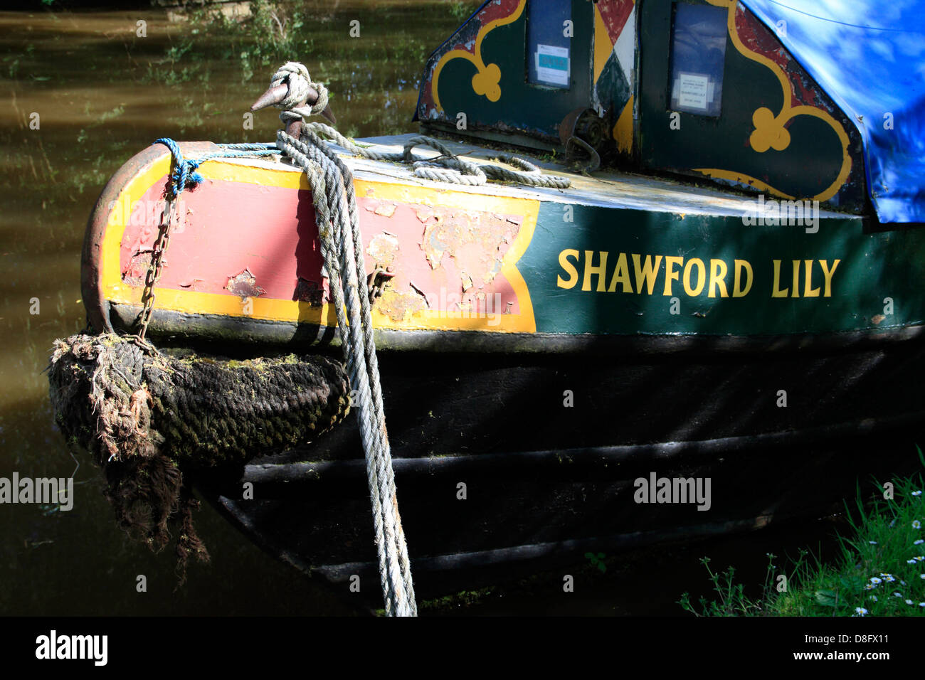 A narrowboat on the Oxford Canal near Thrupp in Oxfordshire - Stock Image