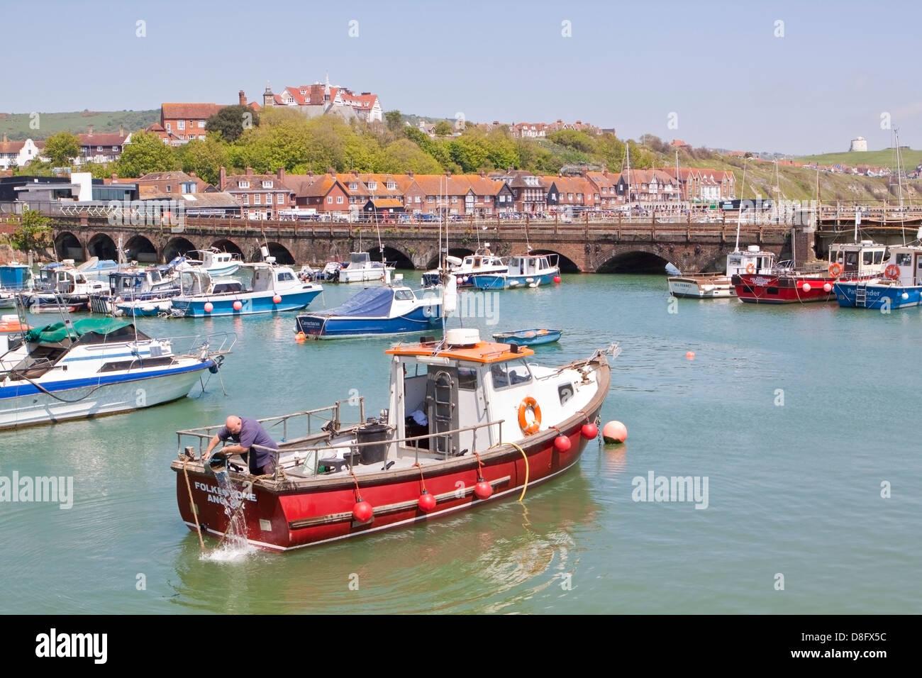 Folkestone Harbour Kent - Stock Image