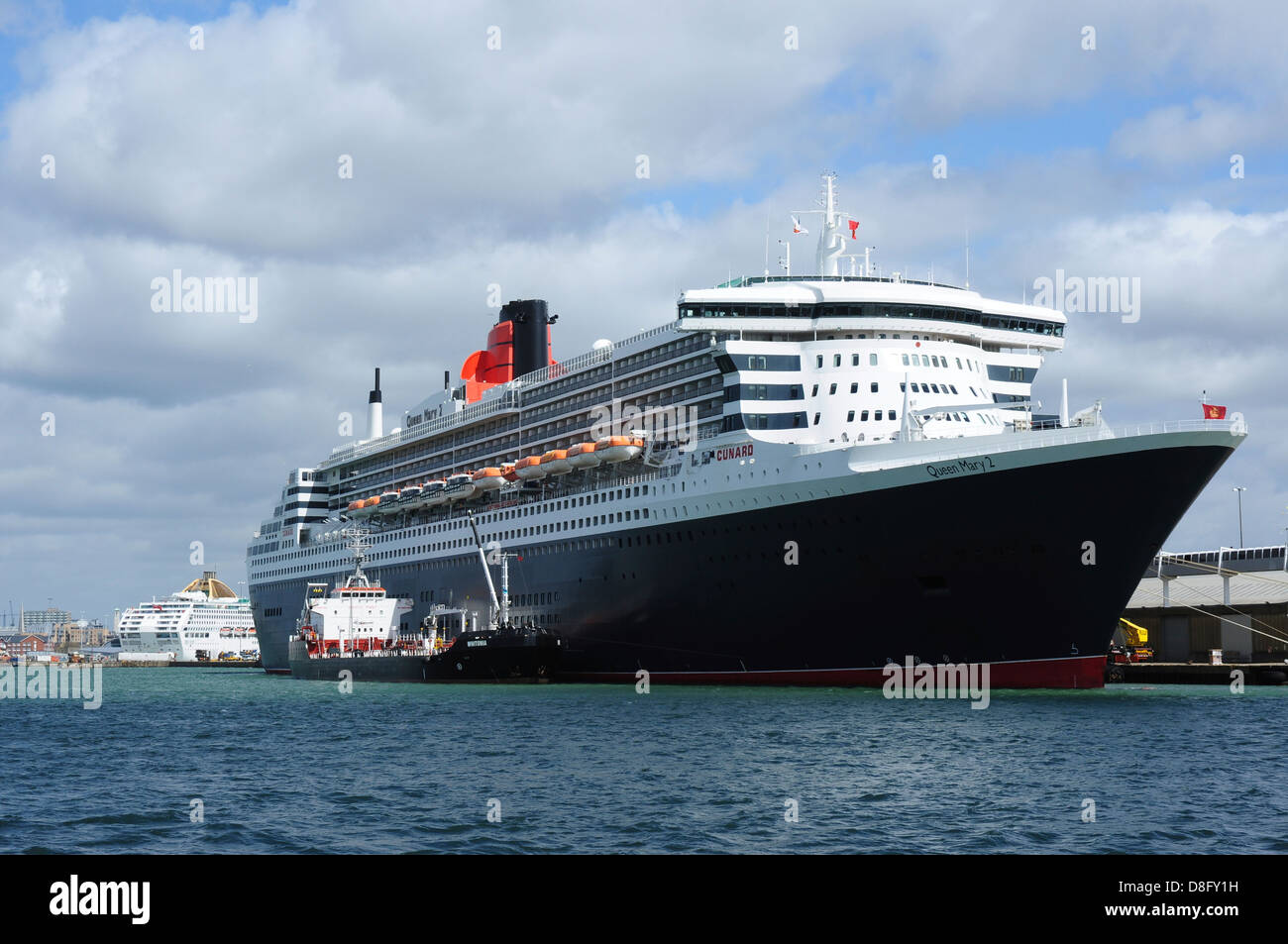 Cunard ship Queen Mary 2 docked at Southampton, Hampshire, England, UK - Stock Image