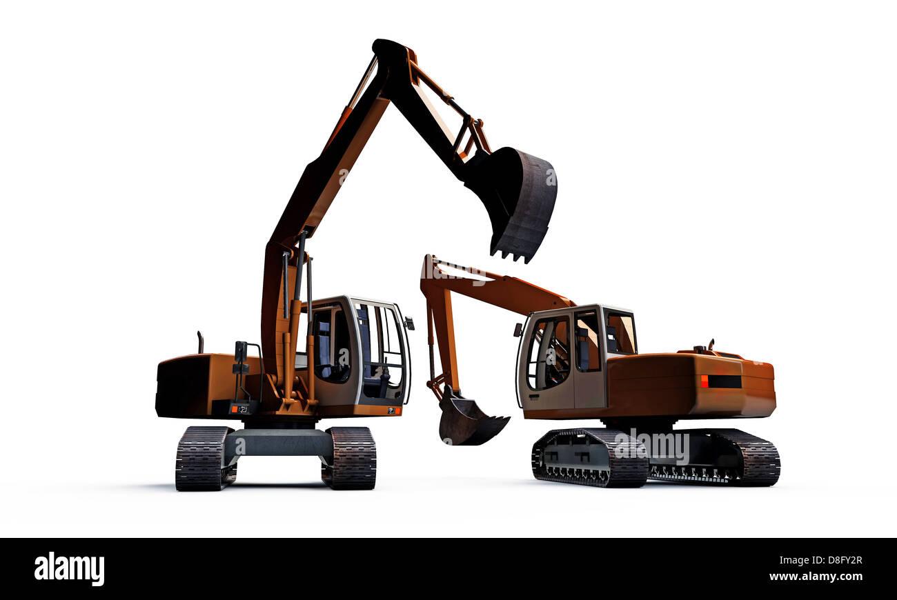 excavators isolated on white background - Stock Image