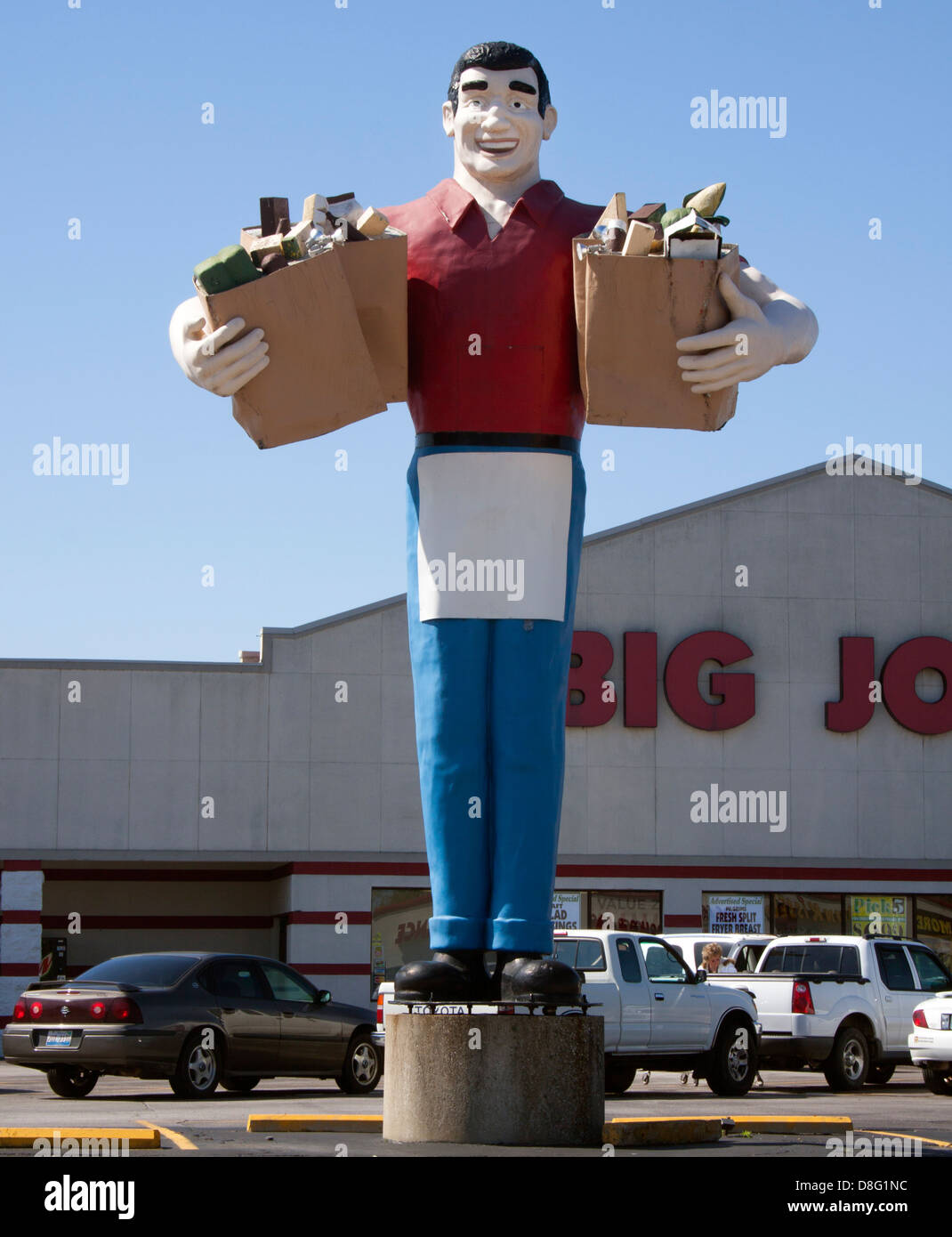Big John Giant Statue at a supermarket in Metropolis Illinois - Stock Image